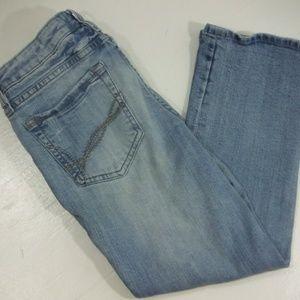 Refuge Distressed Straight Leg Mid Rise Jeans - 9